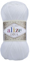 Пряжа Alize DIVA SILK EFFECT 55 белый