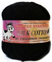 Пряжа Color City МИЛК КОТТОН (MILK COTTON) 017 черный