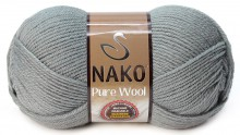 Пряжа Nako PURE WOOL 11207 серебристо-серый