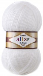 Пряжа Alize ANGORA REAL 40 PLUS 55 белый