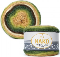 Пряжа Nako ANGORA LUKS COLOR 81905 песок/зелен/коричн/фисташка