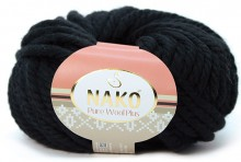 Пряжа Nako PURE WOOL PLUS 217 черный