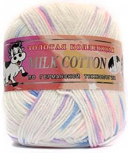 Пряжа Color City МИЛК КОТТОН (MILK COTTON) 041 бел/син/роз