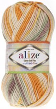 Пряжа Alize COTTON GOLD PLUS MULTICOLOR 52176 оранж принт