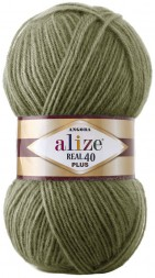 Пряжа Alize ANGORA REAL 40 PLUS 485 хаки