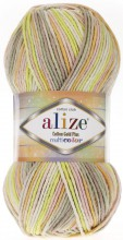 Пряжа Alize COTTON GOLD PLUS MULTICOLOR 52177 фисташка принт