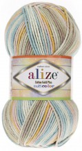 Пряжа Alize COTTON GOLD PLUS MULTICOLOR 52178 бирюза принт
