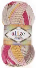 Пряжа Alize COTTON GOLD PLUS MULTICOLOR 52196 мальва принт