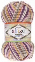 Пряжа Alize COTTON GOLD PLUS MULTICOLOR 52197 сирень принт