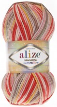 Пряжа Alize COTTON GOLD PLUS MULTICOLOR 52198 коралл принт