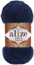 Пряжа Alize DIVA STRETCH 361 т.синий