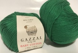 Пряжа Gazzal BABY COTTON 3456 зеленый