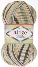 Пряжа Alize COTTON GOLD PLUS MULTICOLOR 52199 хаки принт