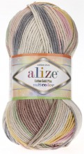 Пряжа Alize COTTON GOLD PLUS MULTICOLOR 52204 сирень/беж принт