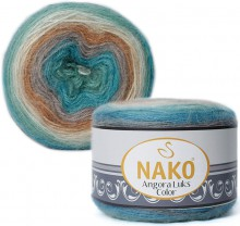 Пряжа Nako ANGORA LUKS COLOR 81906 м.волна/беж