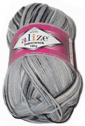 Пряжа Alize SUPERWASH WOOL 100 51972 дымчатый принт