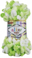 Пряжа Alize PUFFY COLOR 5937 белый/салат
