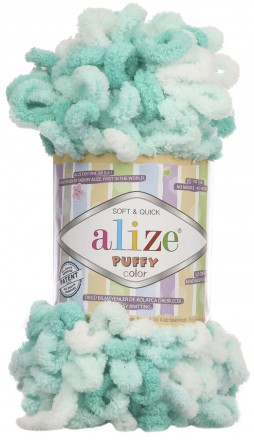 Пряжа Alize PUFFY COLOR 5920 мята принт