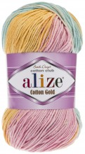 Пряжа Alize COTTON GOLD BATIK 6784 оранж/серо-голуб/беж