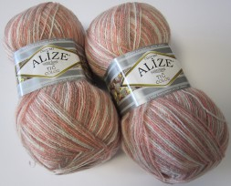 Пряжа Alize SUPERLANA TIG COLOR & BATIK 51855 персик принт