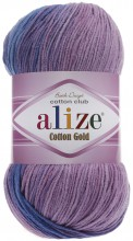 Пряжа Alize COTTON GOLD BATIK 4531 неж.бирюза/сирень/сух.роза