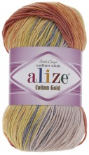 Пряжа Alize COTTON GOLD BATIK 5508 оранж/желт/серый