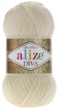 Пряжа Alize DIVA SILK EFFECT 01 кремовый