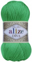 Пряжа Alize DIVA SILK EFFECT 123 зеленый