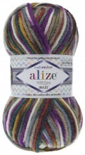 Пряжа Alize SUPERLANA MAXI MULTICOLOR 52147 фиолет