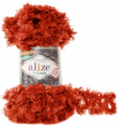 Пряжа Alize PUFFY FUR 6121 т.коралл