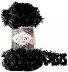 Пряжа Alize PUFFY FUR 6101 черный