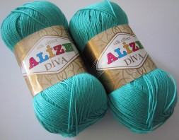 Пряжа Alize DIVA SILK EFFECT 610 зел.бирюза