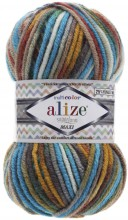 Пряжа Alize SUPERLANA MAXI MULTICOLOR 52145 бирюза