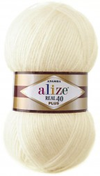 Пряжа Alize ANGORA REAL 40 PLUS 01 кремовый