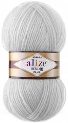 Пряжа Alize ANGORA REAL 40 PLUS 21 св.серый